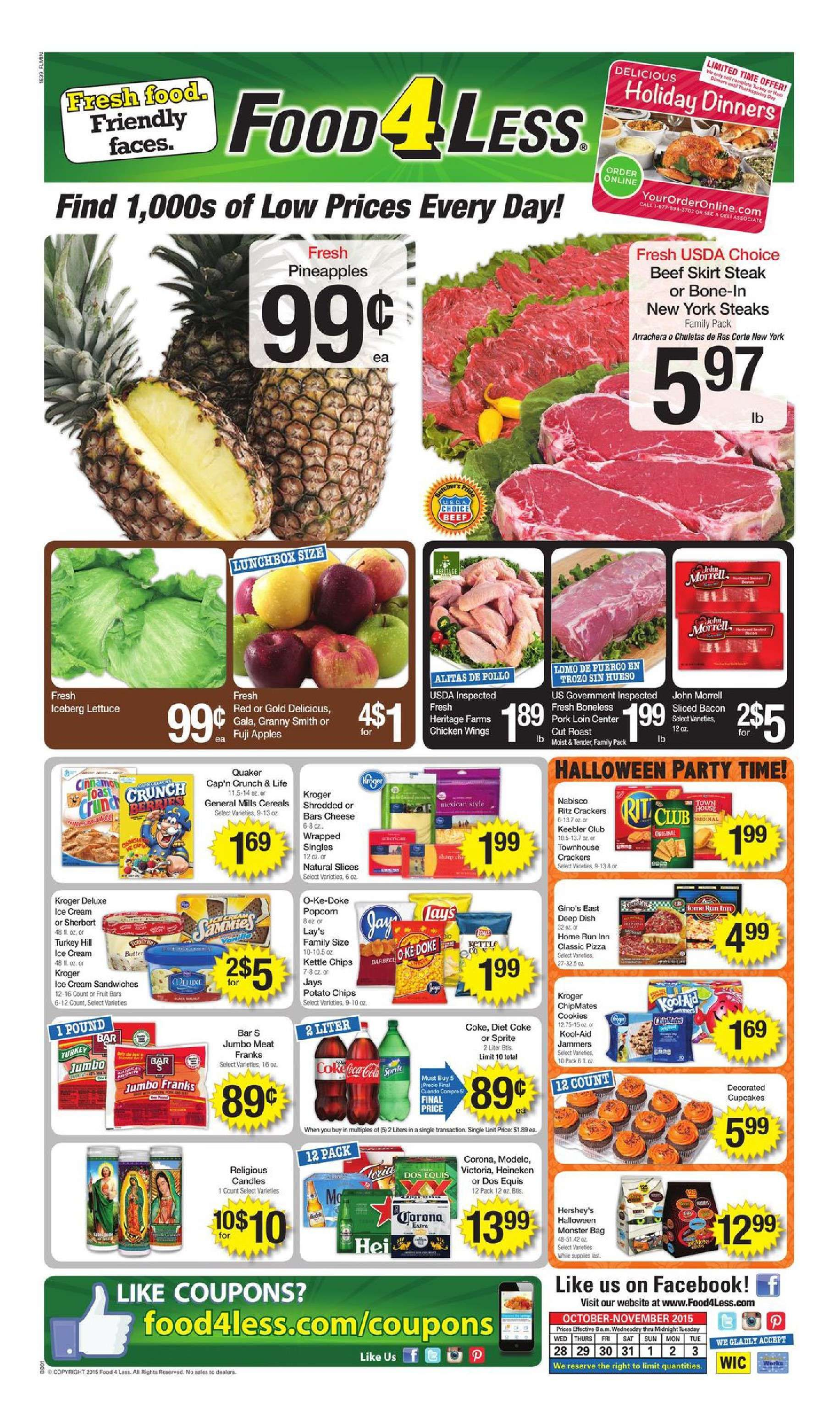 Food 4 less weekly ad october 21 27 2015 weekly ads