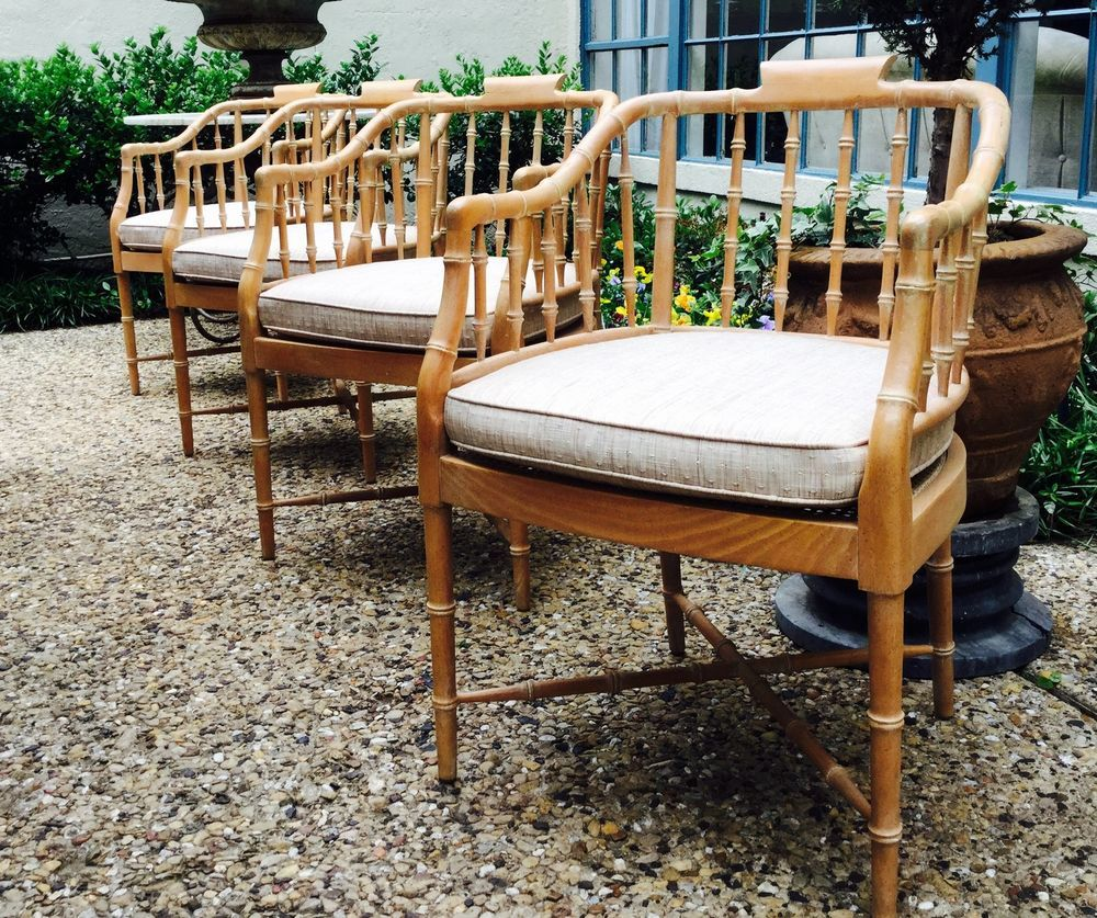 4 Vintage Faux Bamboo Chinese Chippendale Modern Baker style Armchairs
