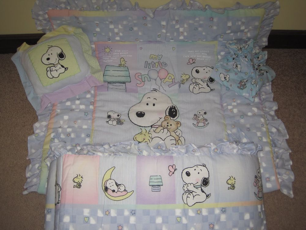 My Baby Snoopy Nursery Bedding Huge 14 Pc Set Excellent Condition Or Boy