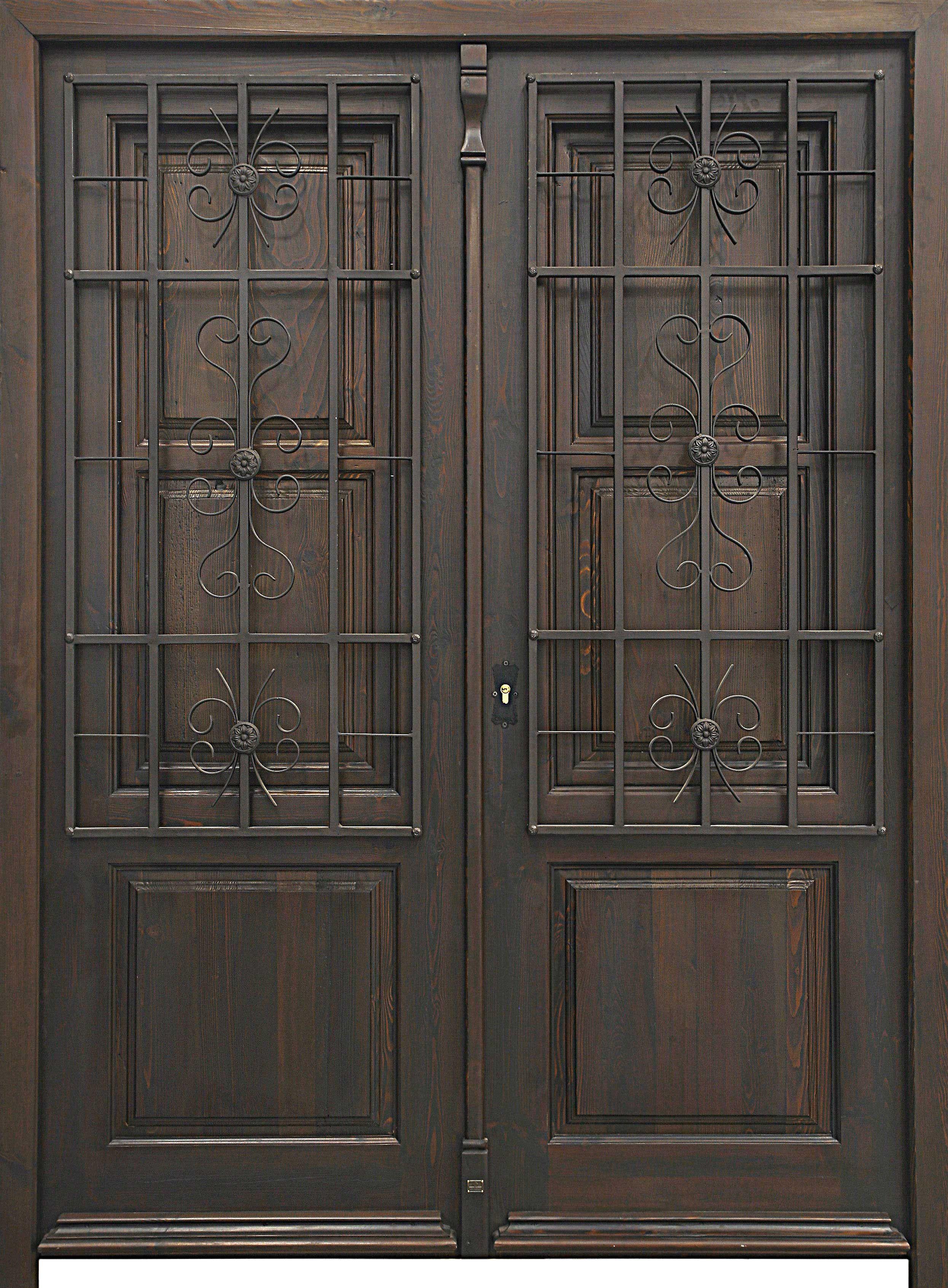 Araceli doble postigos de madera cerradura de seguridad for Puertas dobles antiguas