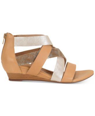 Sofft Rosaria Mixed-Media Wedge Sandals - Tan/Beige 8.5M
