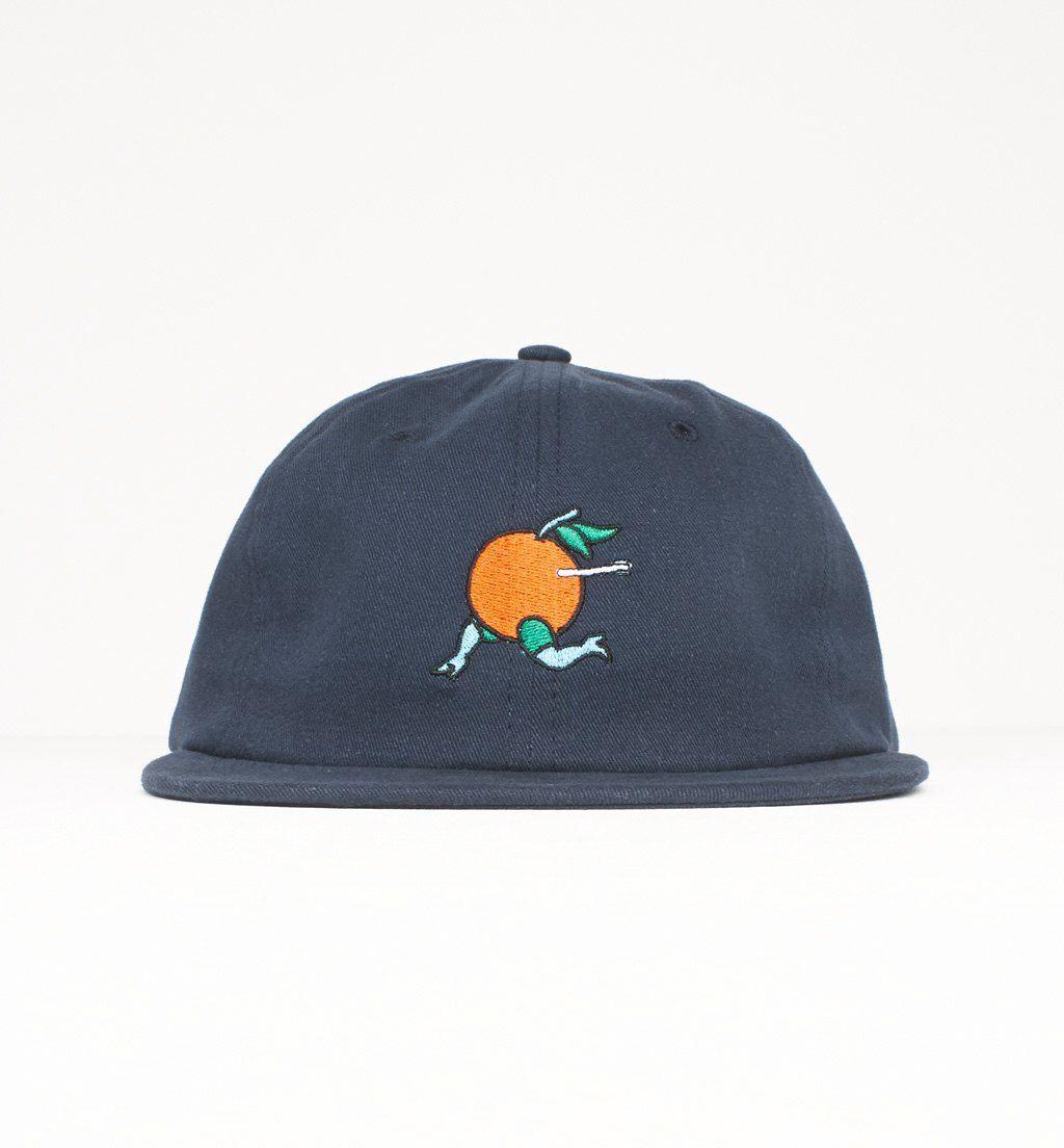 6 panel unconstructed hat orange - navy blue  48a0c98340b