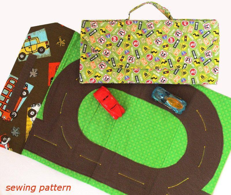 sew a kids car track play mat tote bag pdf sewing pattern