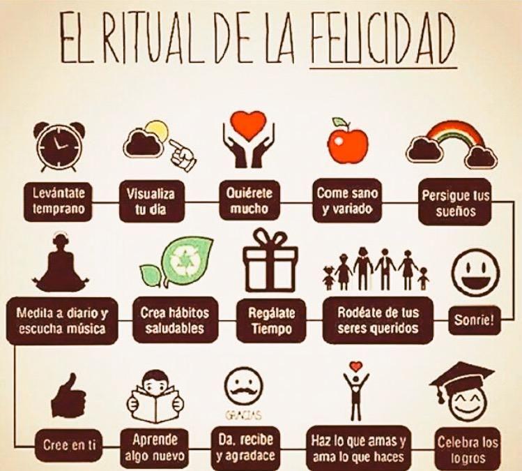 El siguiente es un excelente Ritual de la Felicidad para llevar a cabo. Hay mucho trabajo por hacer! #Felicidad.
