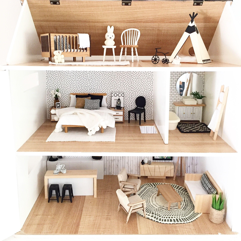 Modern Dollhouse design featuring monochrome furniture in 10:102th