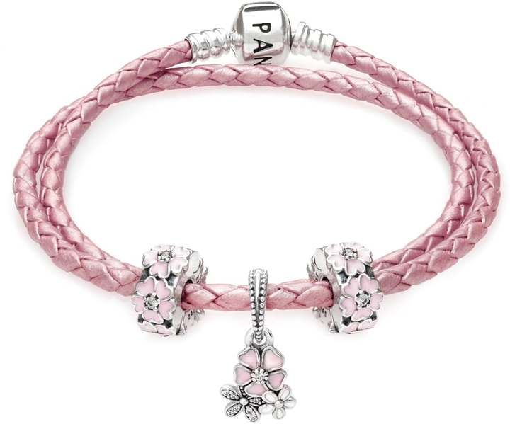 Pandora Pink Poetic Blooms Complete Gift Leather Bracelet