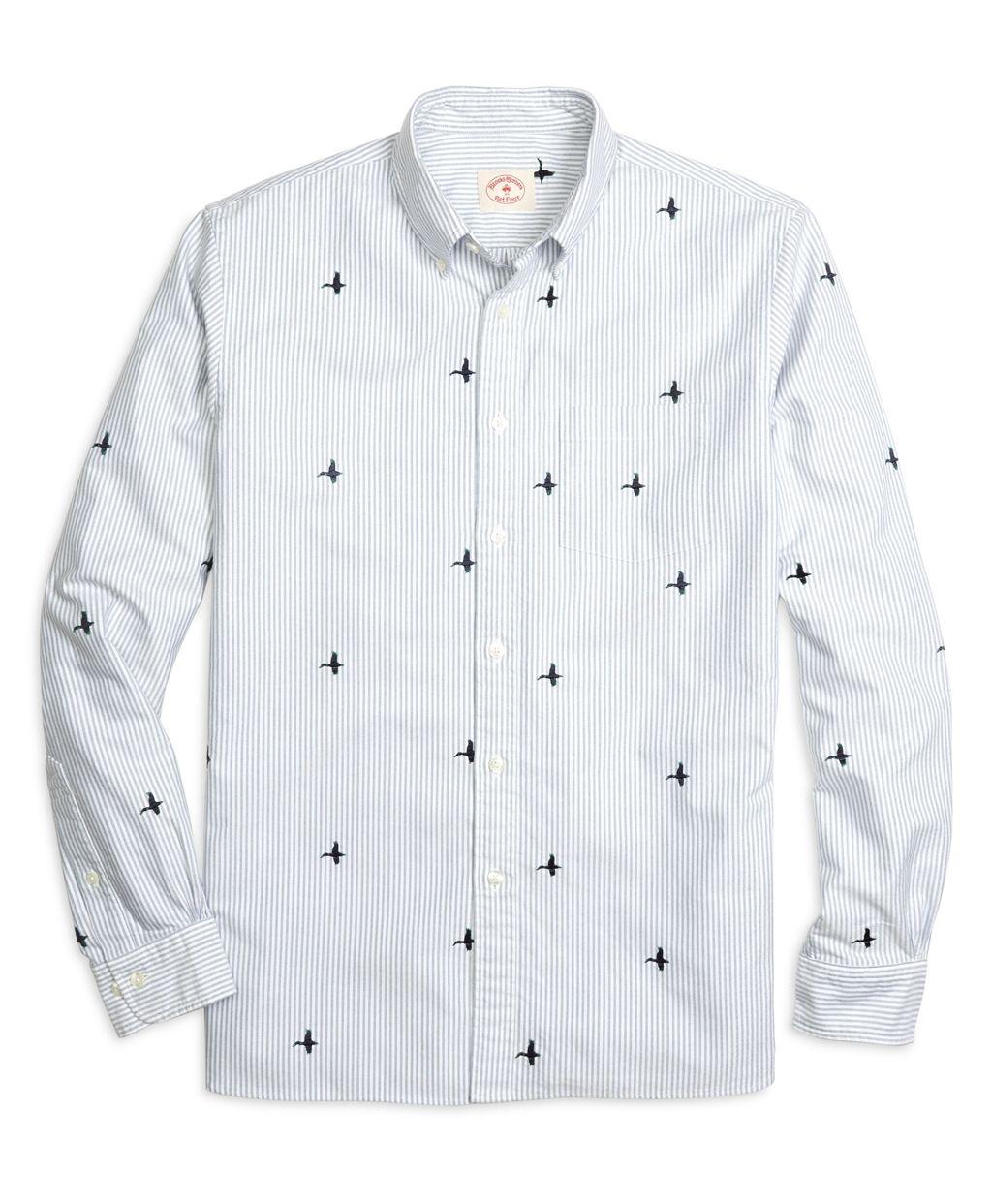 1fca23543b5 Men's Blue Mallard Duck Embroidered Striped Sport Shirt   Brooks Brothers