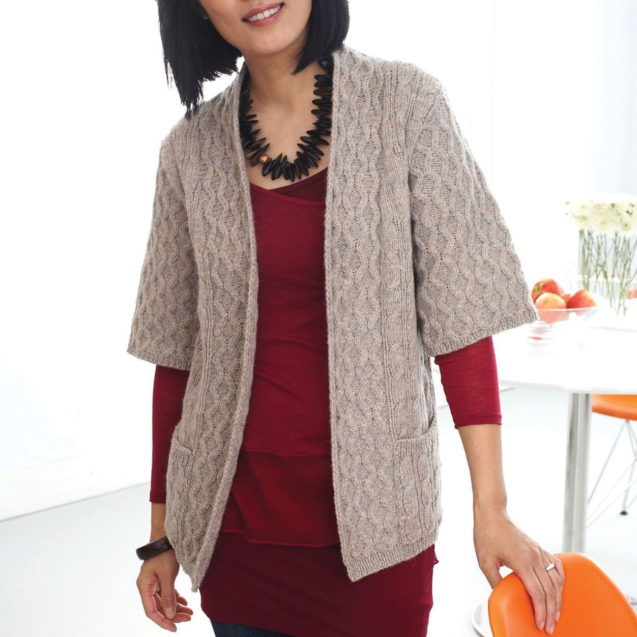 Patons Long Cardigan with Pockets, XS | Crochet cardigan ...