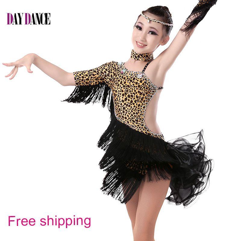 7c1c86846344 Girls Sexy Leopard Backless Cocktail Unequal Dance Dress Child Kids ...