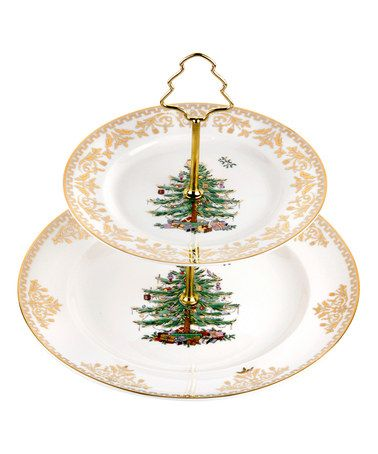 Spode Christmas Tree Gold Two-Tier Cake Stand Tiered cake stands