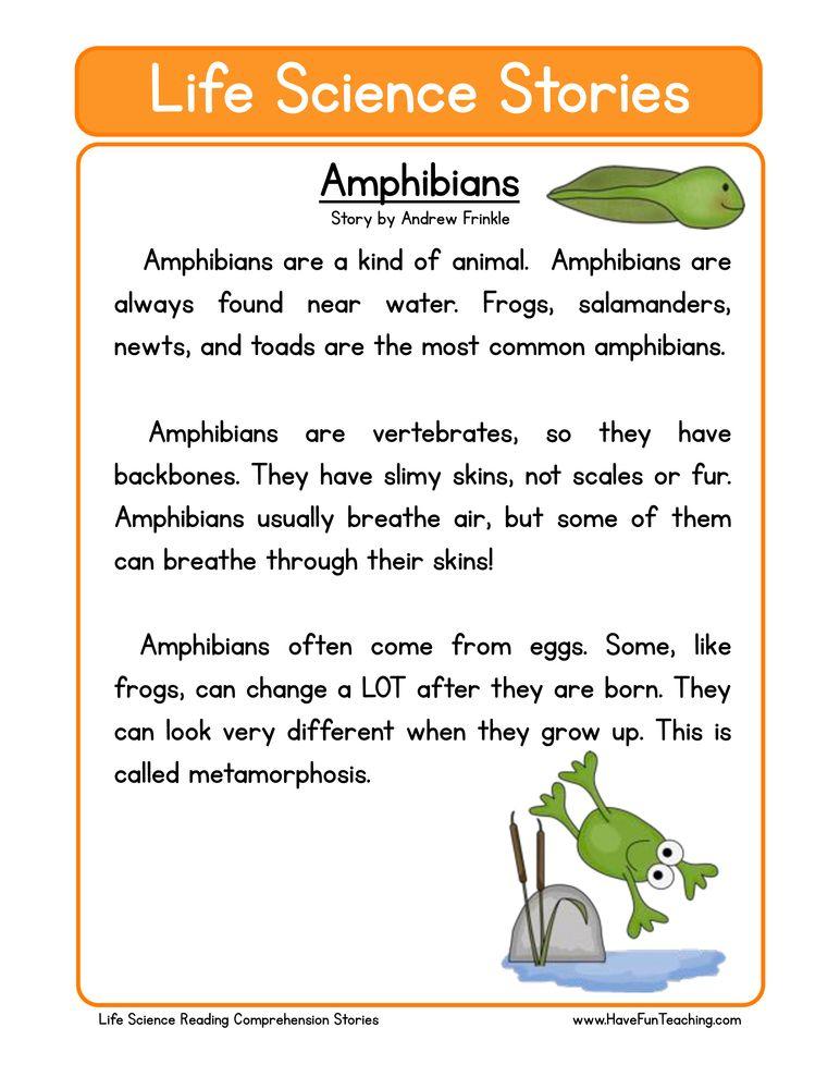 Amphibians Life Science Reading Comprehension Worksheet