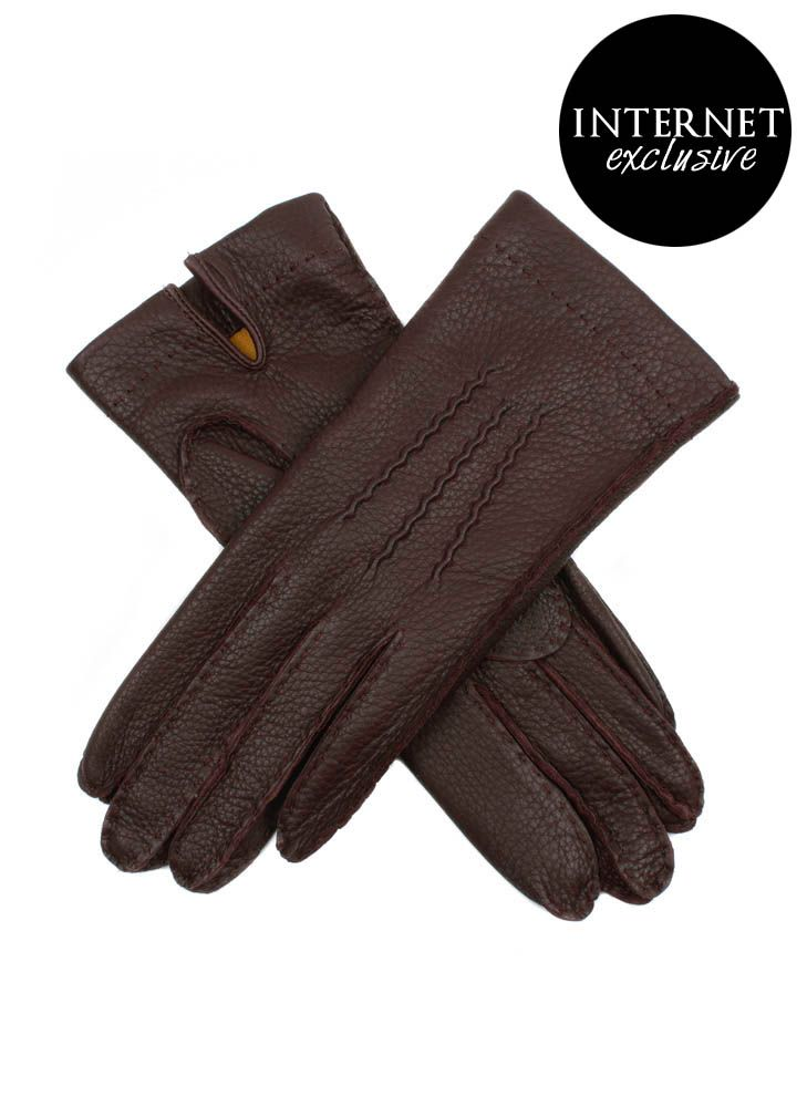 17-1090 Women's deerskin leather glove, lined with contrasting coloured Milanese silk. This glove is detailed with 3 handsewn points and a palm vent.