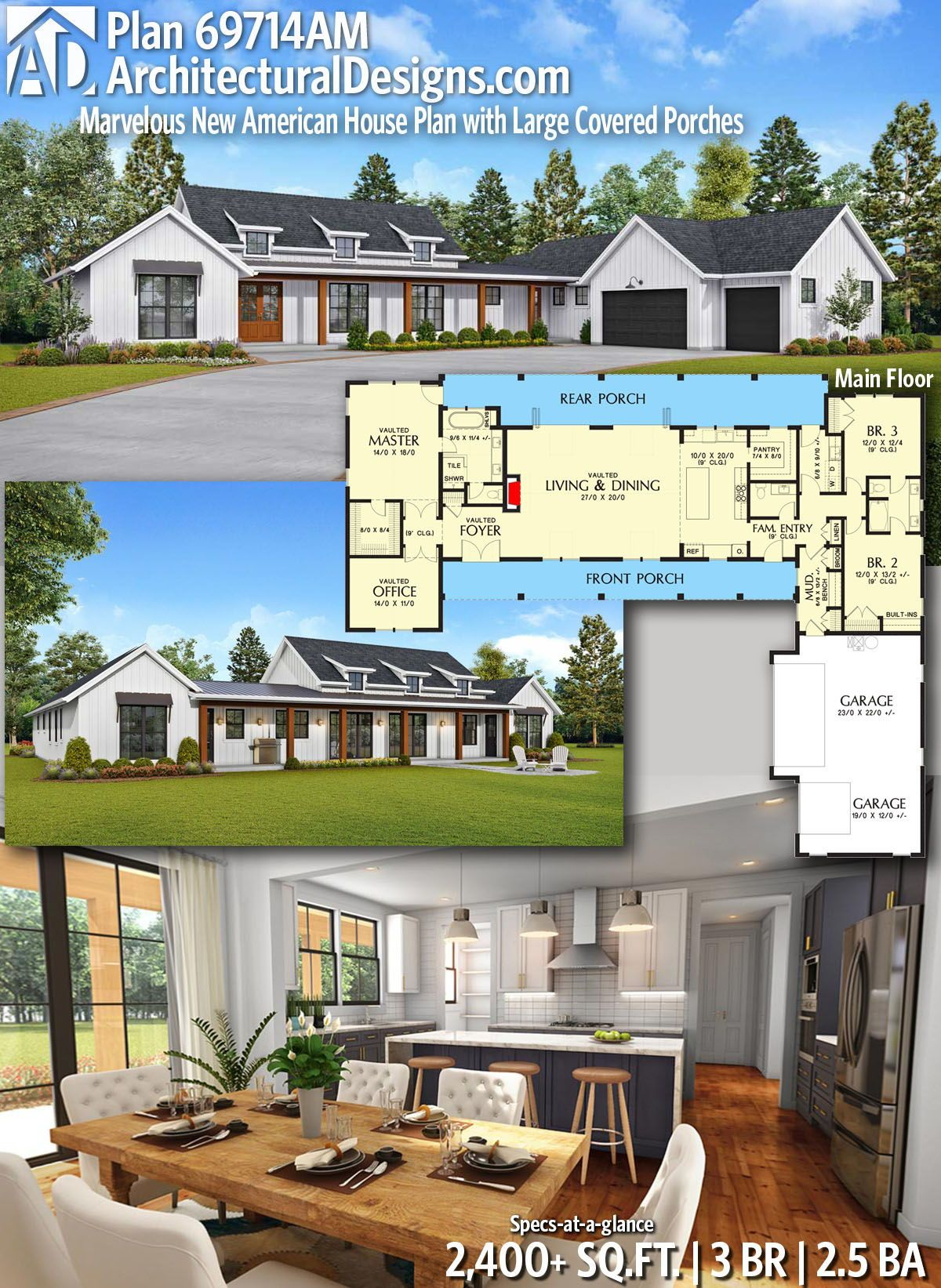 Plan 69714am Marvelous New American House Plan With Large Covered Porches House Plans Farmhouse Plans New House Plans