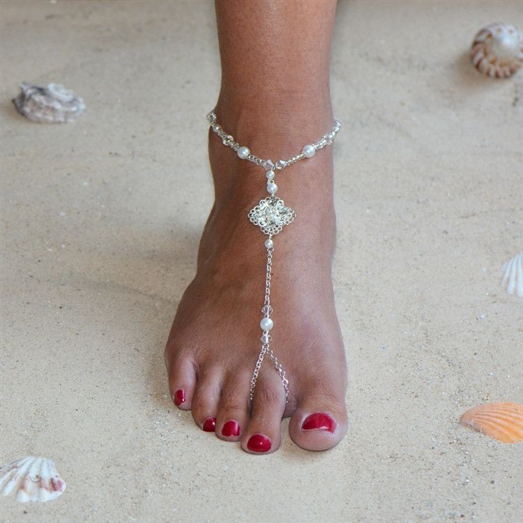 Filigree Barefoot Bridal Sandal Foot Jewelry with White Glass Pearls