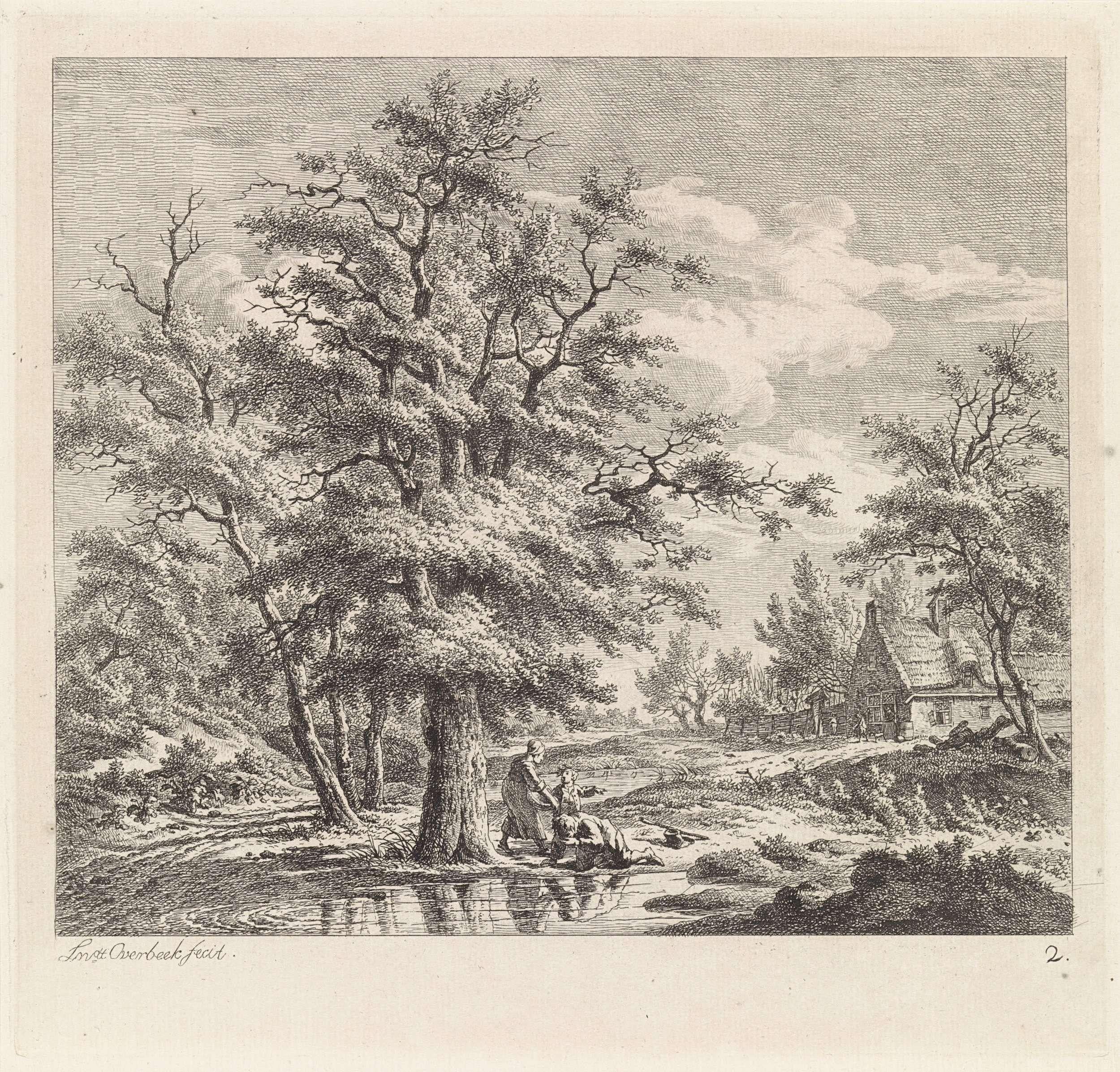Leendert Overbeek   Twee jongen bij een meer, Leendert Overbeek, 1775 - 1815   Twee jongens spelen bij een meer. Eentje wast zijn gezicht in het meer, de tweede vraagt een oude vrouw de weg. Even verderop een boerderij met omheinde tuin.