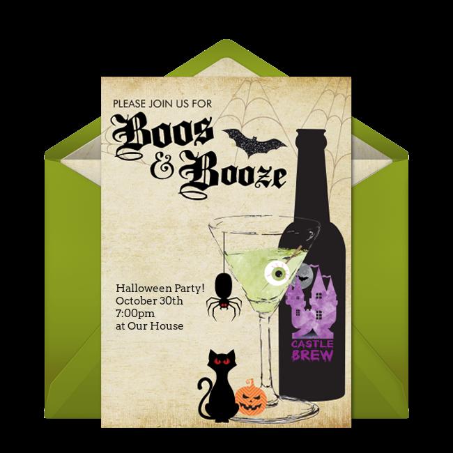 Free Boos Booze Invitations Halloween Party Invitations Free Party Invitations Halloween Printables Free