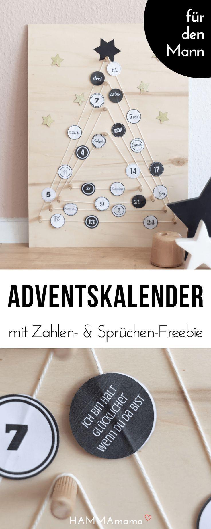 DIY-Adventskalender für den Mann mit Adventskalenderzahlen für umme und einer Füllung aus Liebe