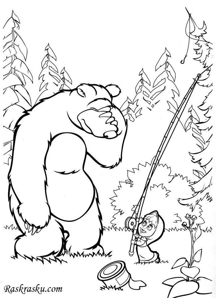 Раскраска Миша и Маша в лесу скачать и распечатать ...