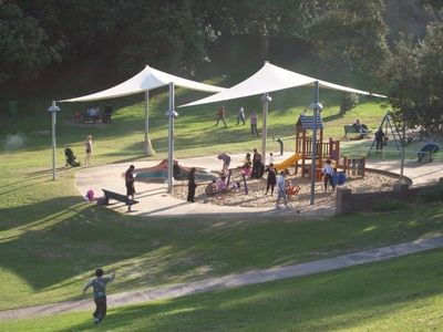 Bronte Beach and Park. Bronte Beach is a small surf beach located in Sydney's eastern suburbs. It is a popular spot for families as it features great BBQ facilities, sheltered picnic tables, lots of green grassy areas as well as an awesome covered playground.  Follow link for more photos and info.
