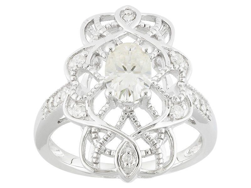 Moissanite Fire Tm 1 06ctw Diamond Equivalent Weight Oval And Round Platineve Tm Ring Moissanite Jewelry Online Jewelry Jewelry Online Shopping