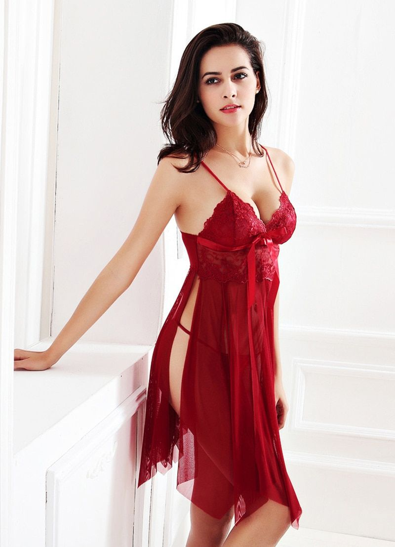 8a7eead07 Hot Sexy Lace Slits V-neck Sleepwear To buy this item