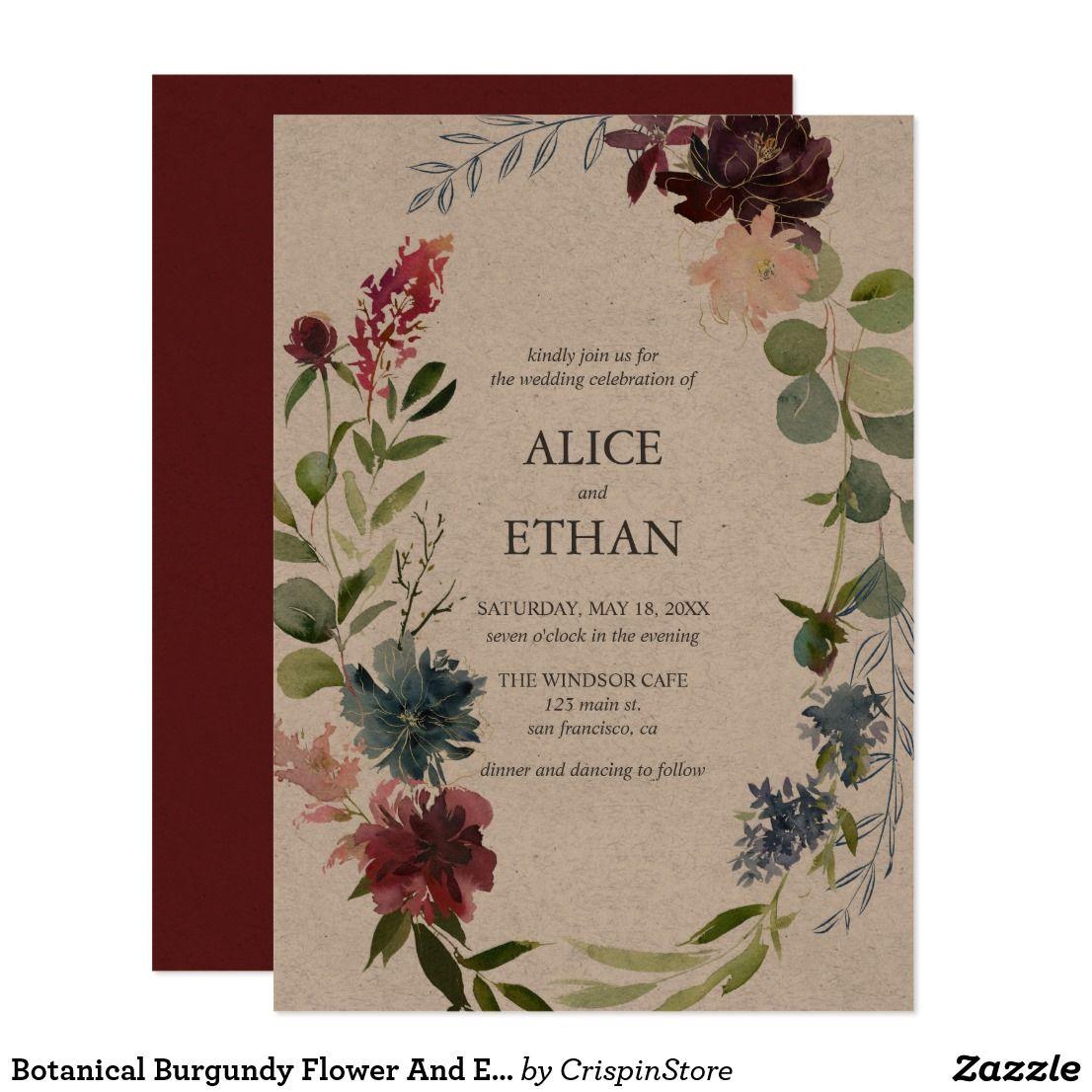 Botanical burgundy flower and eucalyptus wedding