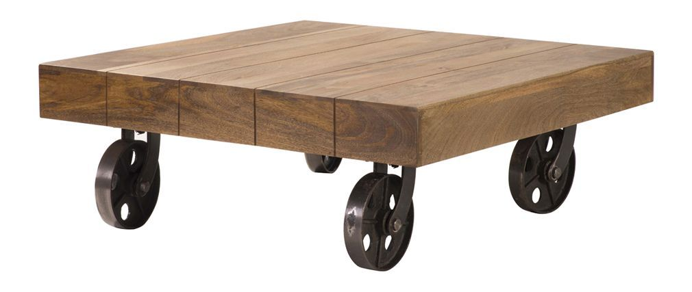 Table Basse Design Industriel Carree A Roulettes Atelier Miliboo Table Basse Design Table Basse Table Basse Palette