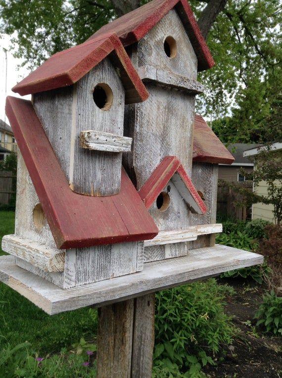 Vintage 4 family birdhouse #birdhouses