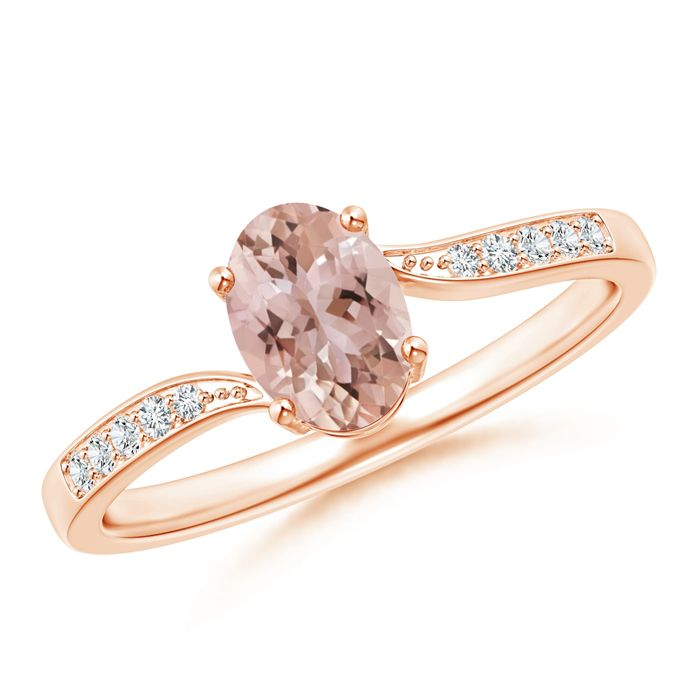 Angara Solitaire Oval Morganite Collar Ring with Diamond PX73BVqEg