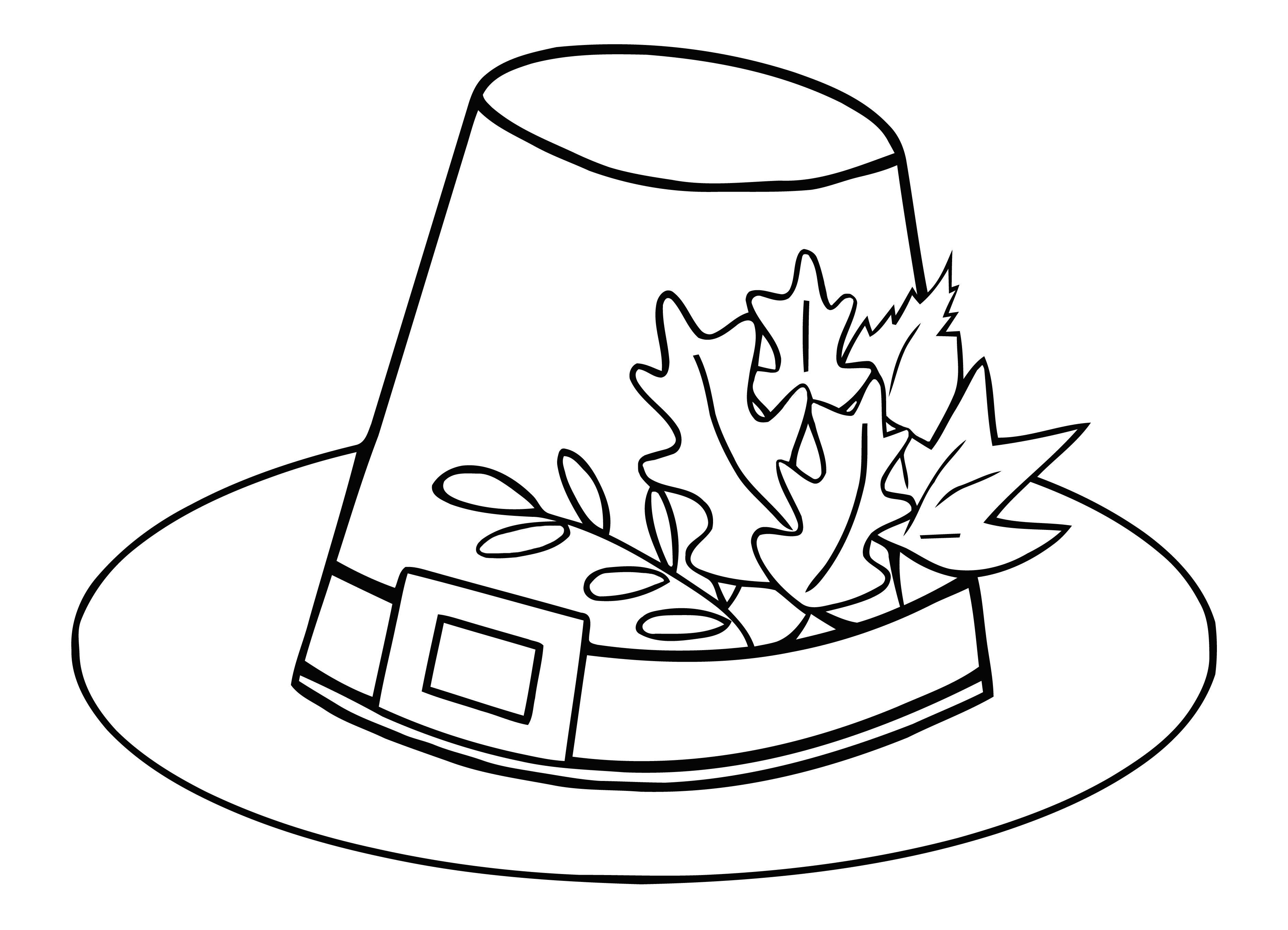 Pilgrim Hat Thanksgiving Free Thanksgiving Coloring Pages
