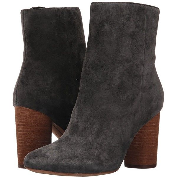 Sam Edelman Corra (Asphalt Kid Suede Leather) Women's Shoes ($160) ❤ liked  on Polyvore featuring shoes, boots, ankle booties, mid-calf boots, stacked  heel ...