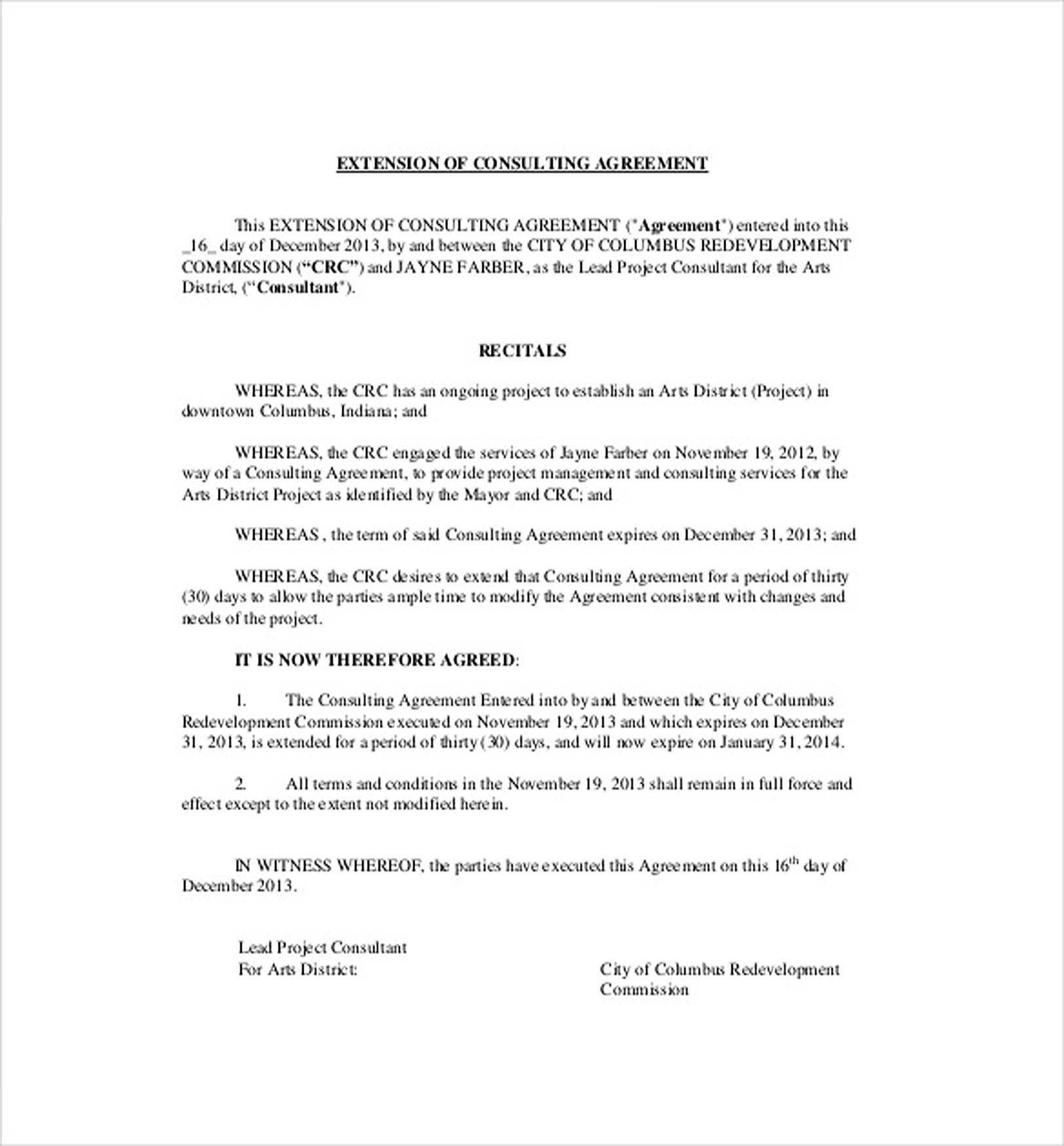 Extension Of Consulting Agreement   Consulting Agreement