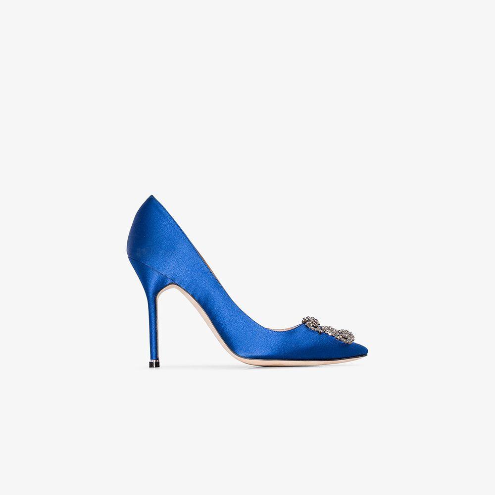 blue Hangisi 105 jewel buckle pumps from Manolo Blahnik.