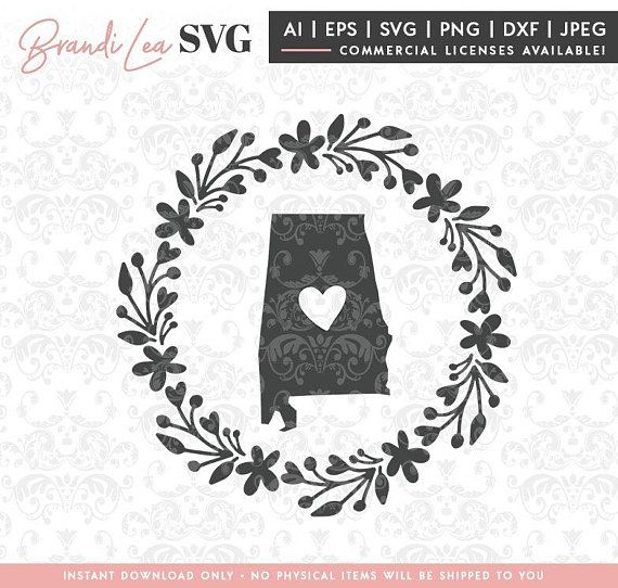 Photo of Alabama Wreath svg, Alabama state svg, Map, State, SVG, DxF, EpS, Quote SVG, Cut File, Cricut, Silhouette, Instant download, Iron Transfer