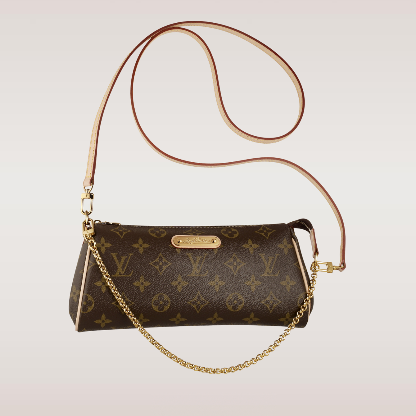 e10c8831a Eva Clutch - Louis Vuitton ( Crossbody Clutch Evening Canvas Brown Nude  Chain(s)) classic.