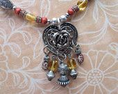 beaded gold, rust, brown beads