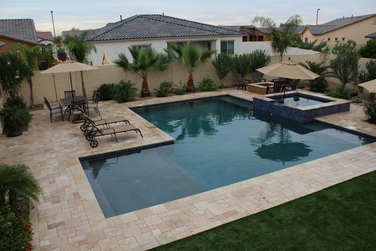 L Shaped Pool in Arizona Custom Design   Backyard pool ... on L Shaped Backyard Layout id=47993