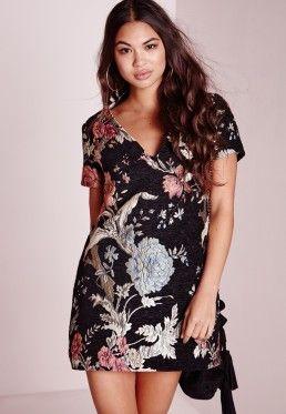 1083dcbc7795 Floral Brocade Plunge Shift Dress Black