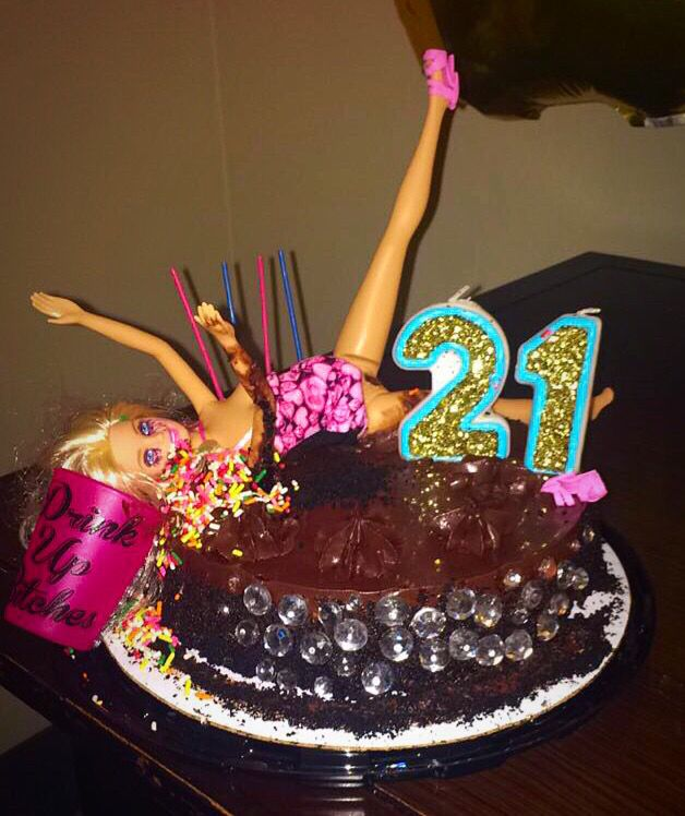 Drunk Barbie Cake 21birthday Drunkbarbiecake 21