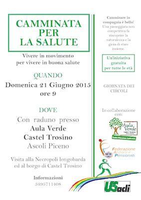 Camminata per la salute: il 21 giugno a Castel Trosino