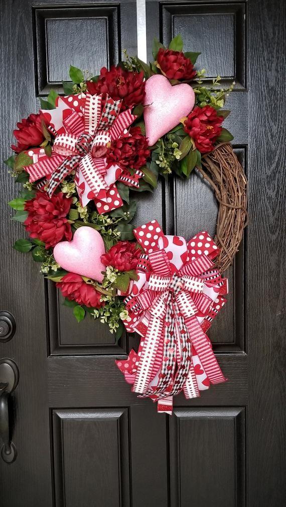 Photo of Valentine Wreath, Valentines Day Wreath, Valentine Wreaths For Front Door, Heart Wreath, Valentine Decorations, Heart Decorations, Valentine