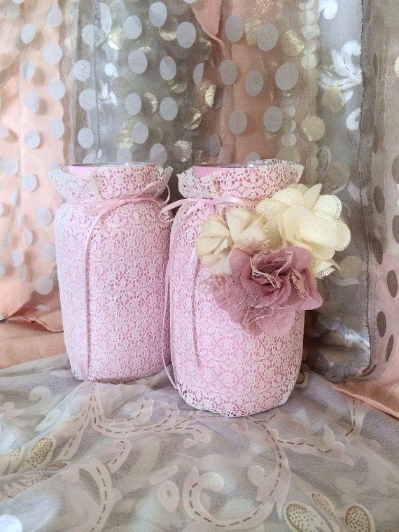 lace mason lace jars bridal shower centerpieces baby shower decorations mason jar flowers shabby chic decorations fancy mason jars