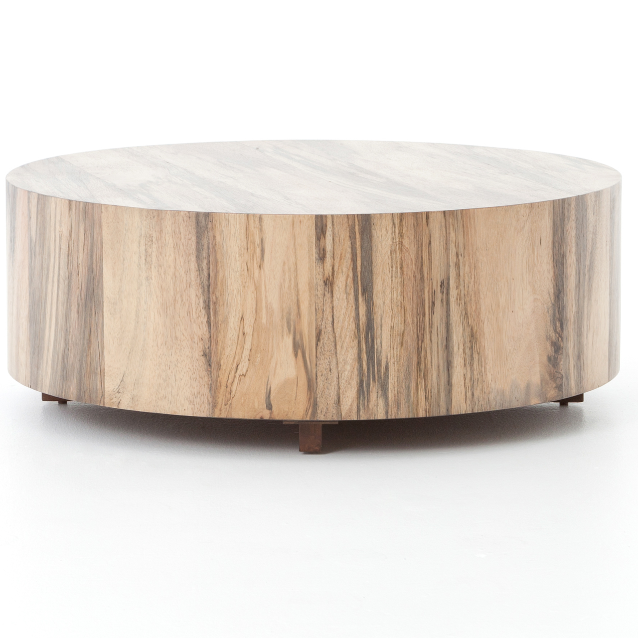 Hudson Spalted Rustic Wood Block Round Coffee Table Drum Coffee Table Coffee Table Wood Round Wood Coffee Table