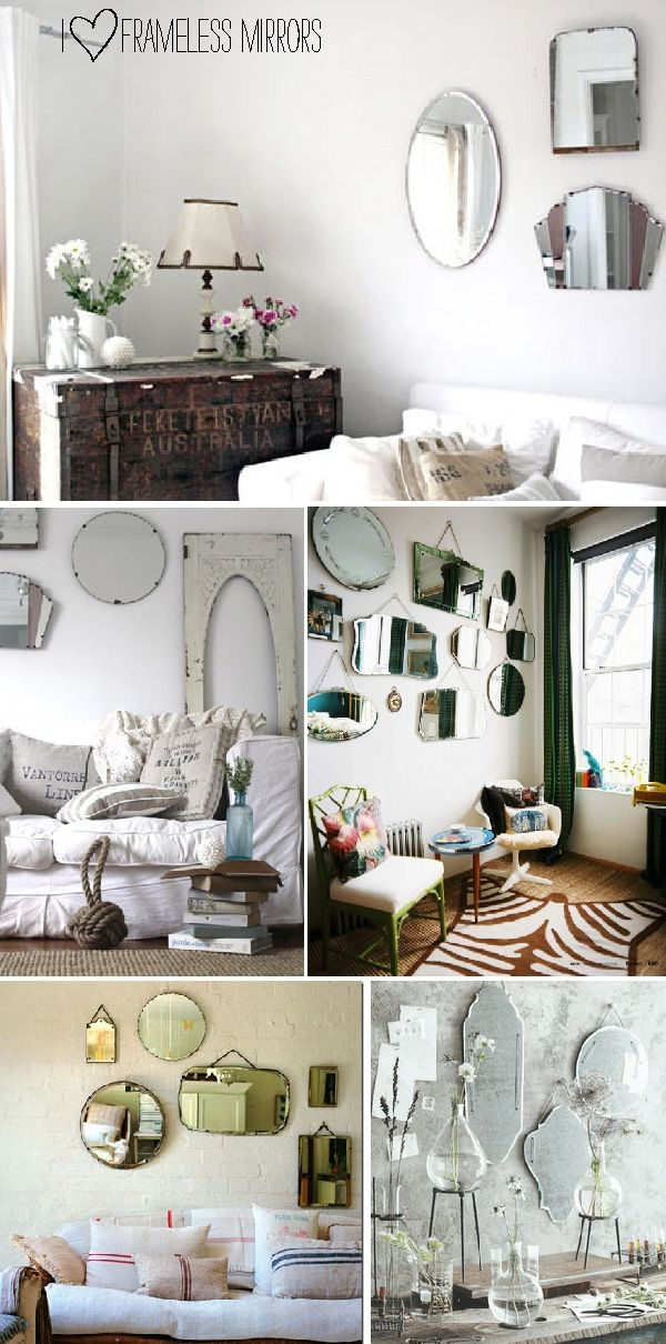 Pin By Sana Khan On At Home Vintage Mirror Wall Frameless