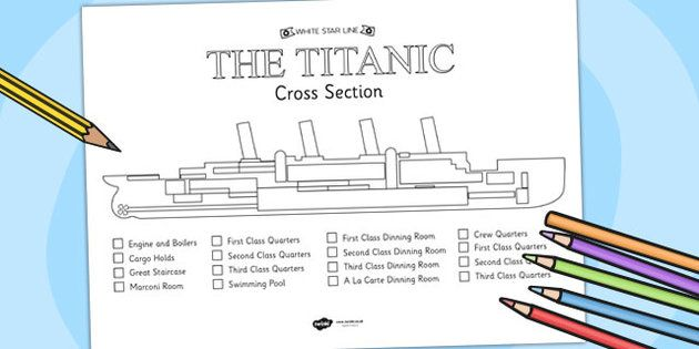 the titanic cross section colour labelling worksheet titanic history template school. Black Bedroom Furniture Sets. Home Design Ideas