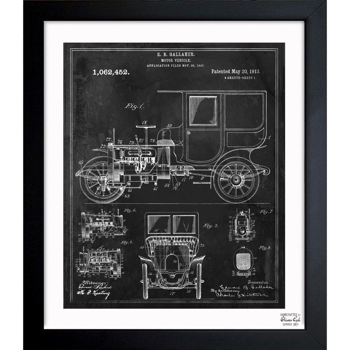 Oliver Gal 'Motor Vehicle 1913' Framed Blueprint Art
