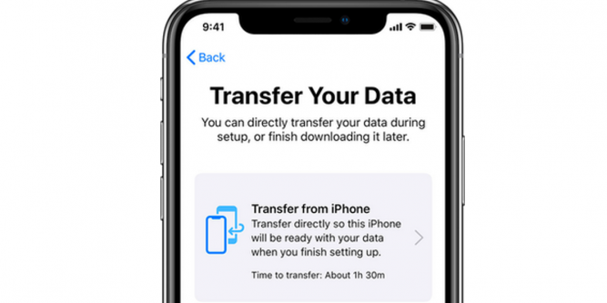 Transfer data wirelessly from old iPhone to new iPhone