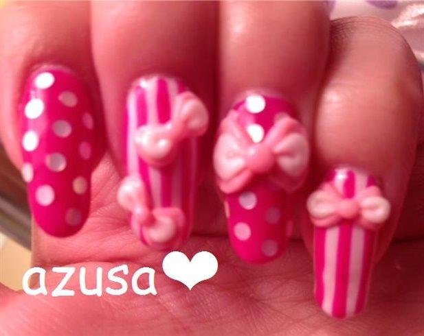 3d Bows On Stripe And Polka Dots Nails Cute Nails Pinterest