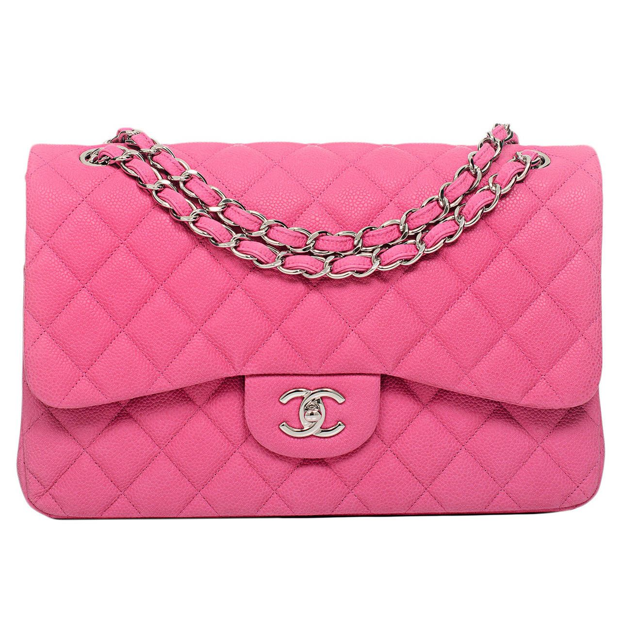096f55c5c64e Chanel Hot Pink Matte Iridescent Caviar Jumbo Classic Double Flap Bag |  From a collection of