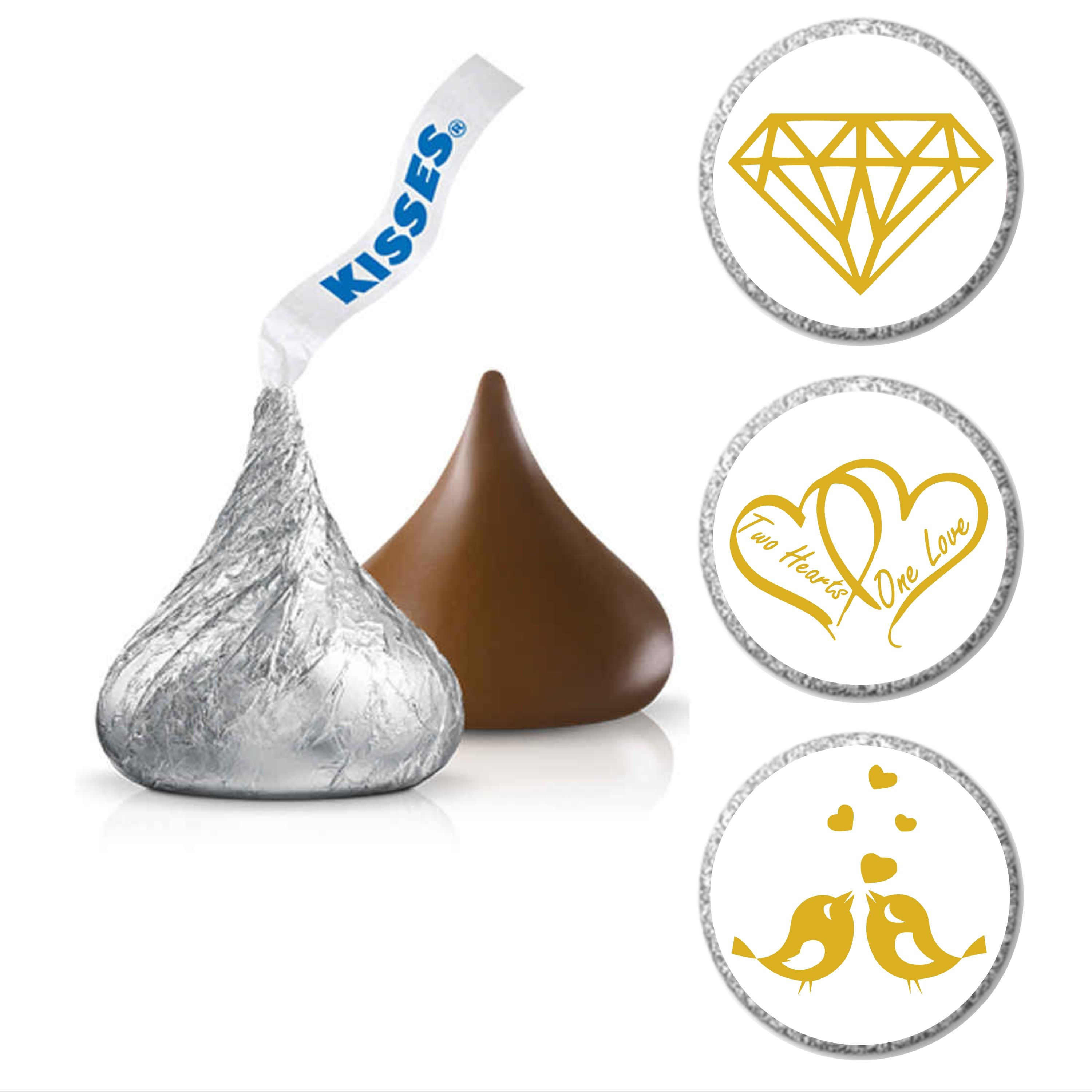 Diamonds Hearts and Lovebirds Hershey Kiss® Candy Sticker | Candy ...